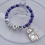 Cat Heart Tummy Personalised Wine Glass Charm - Full Bead Style